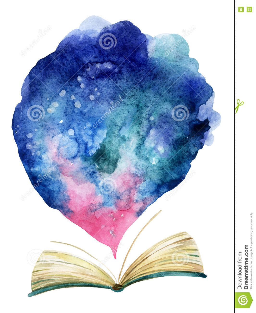 Watercolor Open Book With Magic Cloud Stock Illustration Illustration Of Description Poster 74608325 Open Book Drawing Stock Illustration Illustration