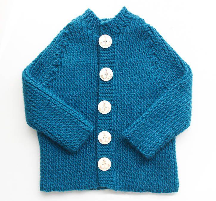 Ribbed Baby Cardigan [knitting pattern] (Gina Michele) | Stricken