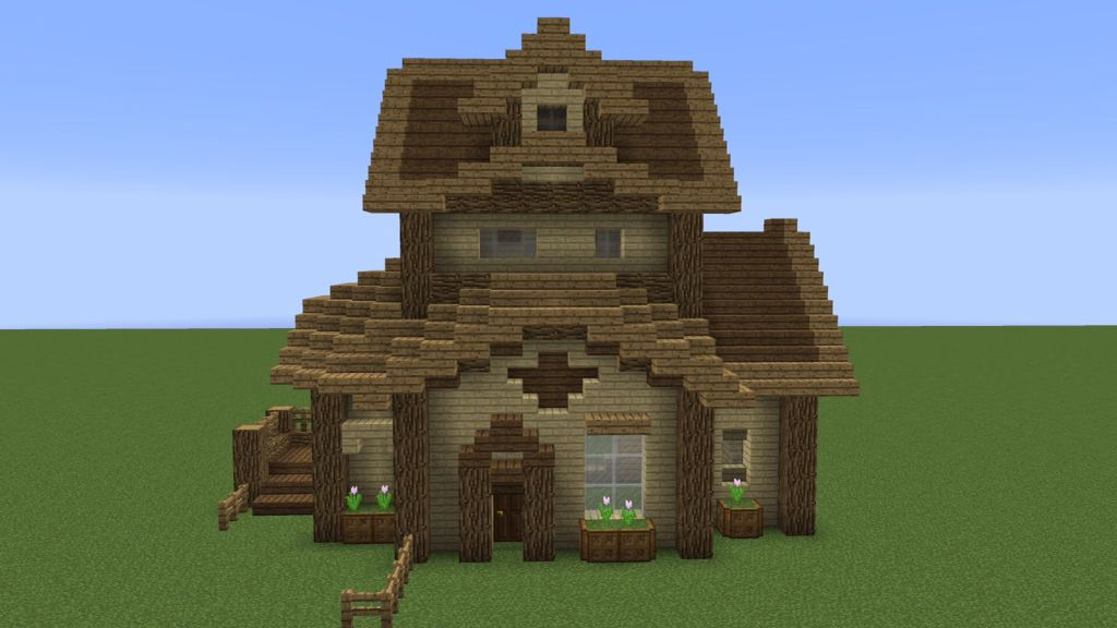 House Made Of Oak Wood Minecraft Modern Minecraft Cottage Minecraft Houses