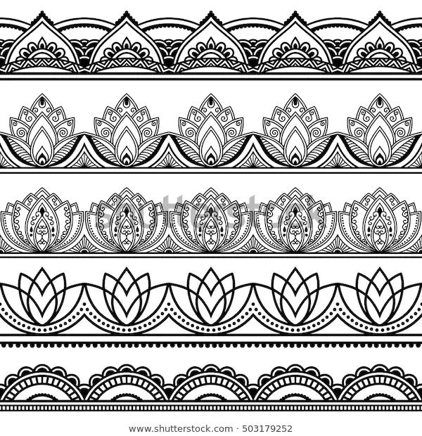 Set Seamless Borders Design Application Henna Stock Vector (Royalty Free) 503179252