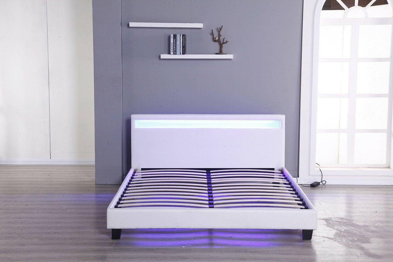 Modern Platform Full Size Leather Bed Frame Slats