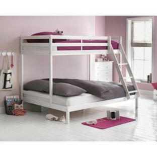Buy white single and double bunk bed with bibby mattress for Bedroom furniture argos