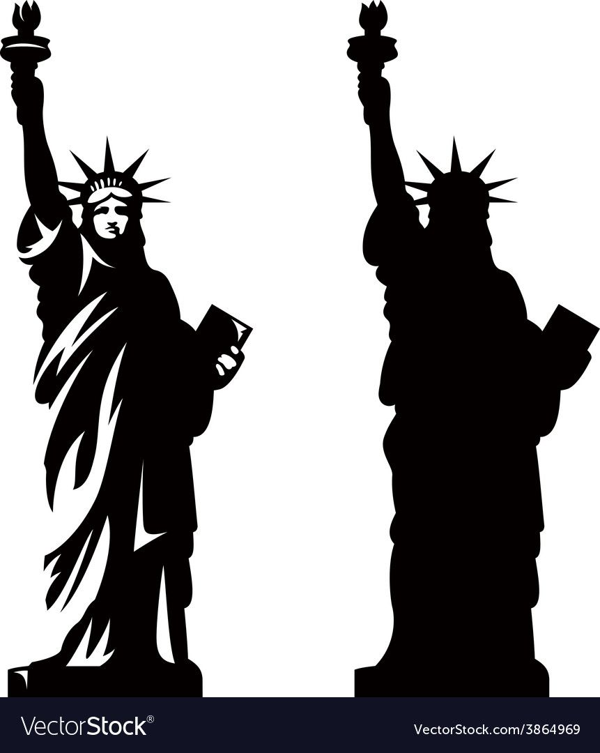 Statue Of Liberty Royalty Free Vector Image Vectorstock Statue Of Liberty Drawing Statue Of Libery City Drawing