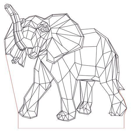 Elephant 3d Illusion Led Lamp Plan Vector File