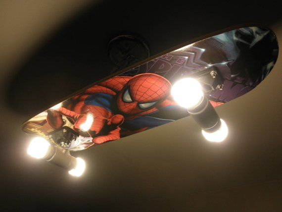 Custom Hanging Spiderman Skateboard Light Fixture