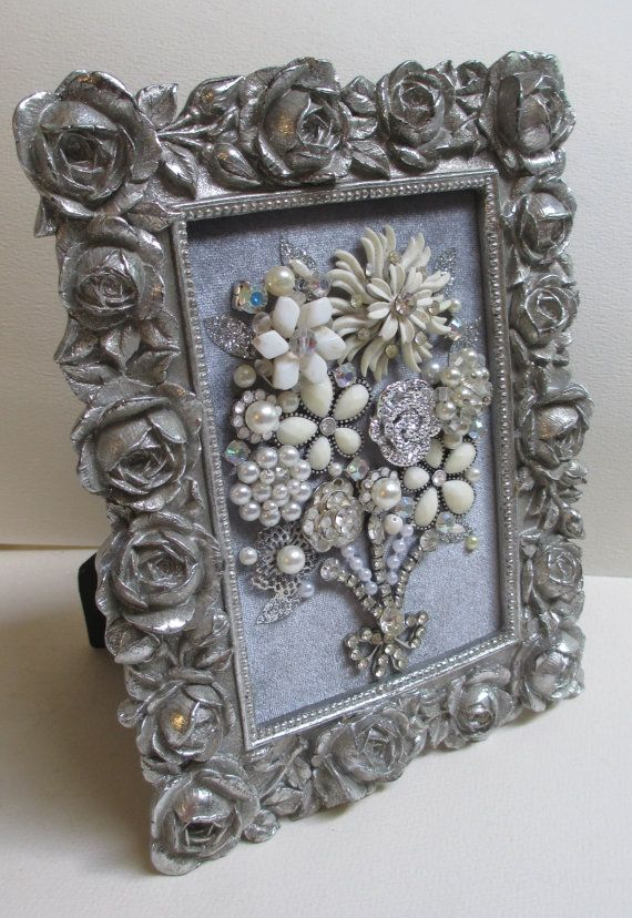 Jeweled Framed Jewelry Flower Bouquet Silver Gray by audreymivey