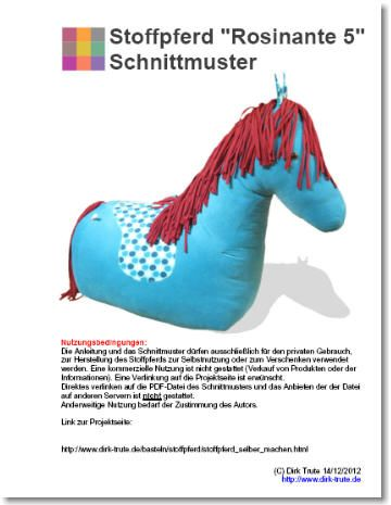free pattern - großes Sitz-Stoffpferd Schnittmuster kostenlos ...