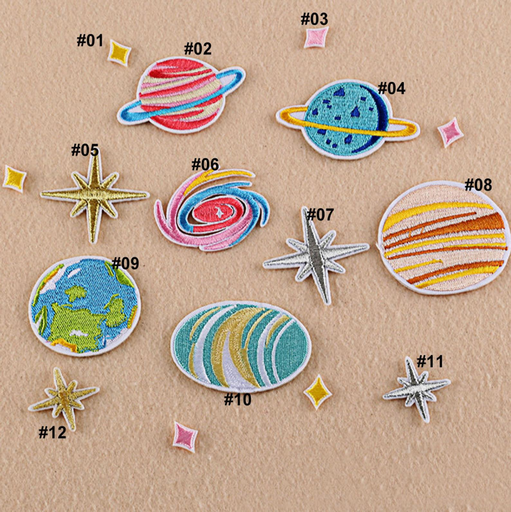 1//10PCS Embroidered Iron On Patches Universe Transfer Fabric Clothes Applique