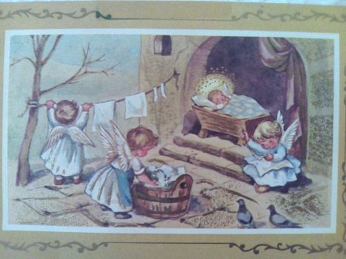BROWNIE-Angel-Girls-Wash-amp-Sew-BABY-in-Manger-Rust-Craft-CHRISTMAS-Greeting-CARD