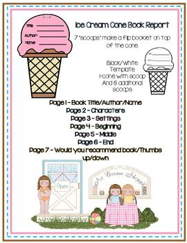Book Report Or Story Element Organizer Ice Cream Cone Template Book Report Language Arts Writing Cone Template