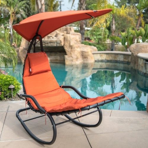 Orange Belleze Hanging Rocking Sunshade Canopy Chair Chaise Umbrella Lounge Arc Patio Bungee Padded Cushions Outdoor Talkingbread Co Il