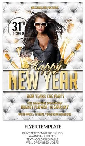 Happy New Year Party_02 - ss flyer club white gold drink simple - free new years eve flyer template