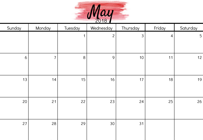 may 2018 editable calendar