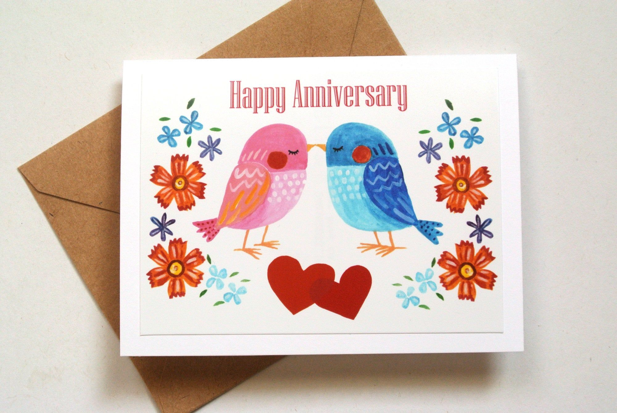 Happy Anniversary Card For Couple Cute Birds Wedding Etsy Happy Anniversary Cards Anniversary Cards For Husband Anniversary Cards For Boyfriend