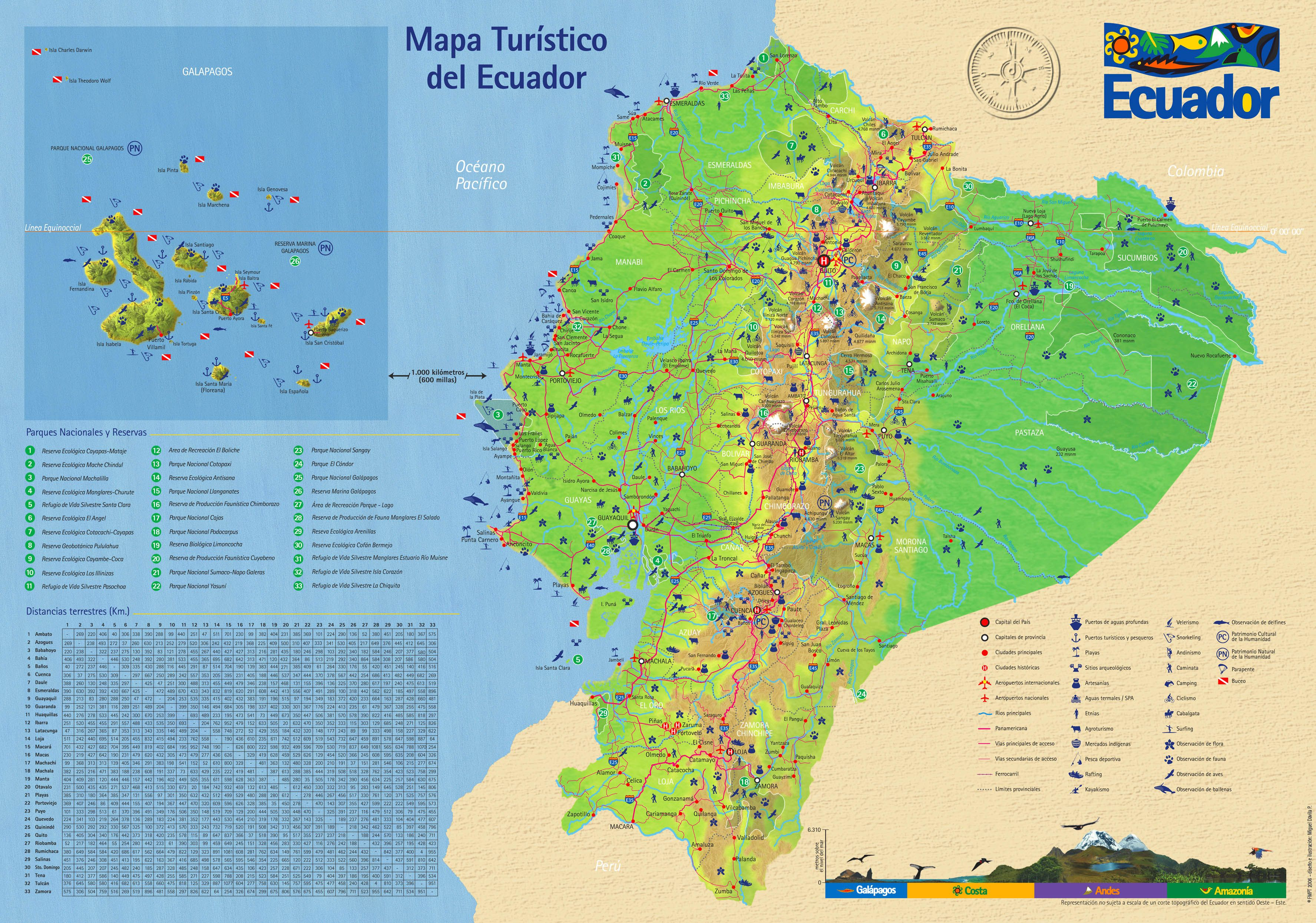 Mapa Turistico Ecuador Jpg 3 550 2 491 Pixels Mapa Turistico Equador Mapa