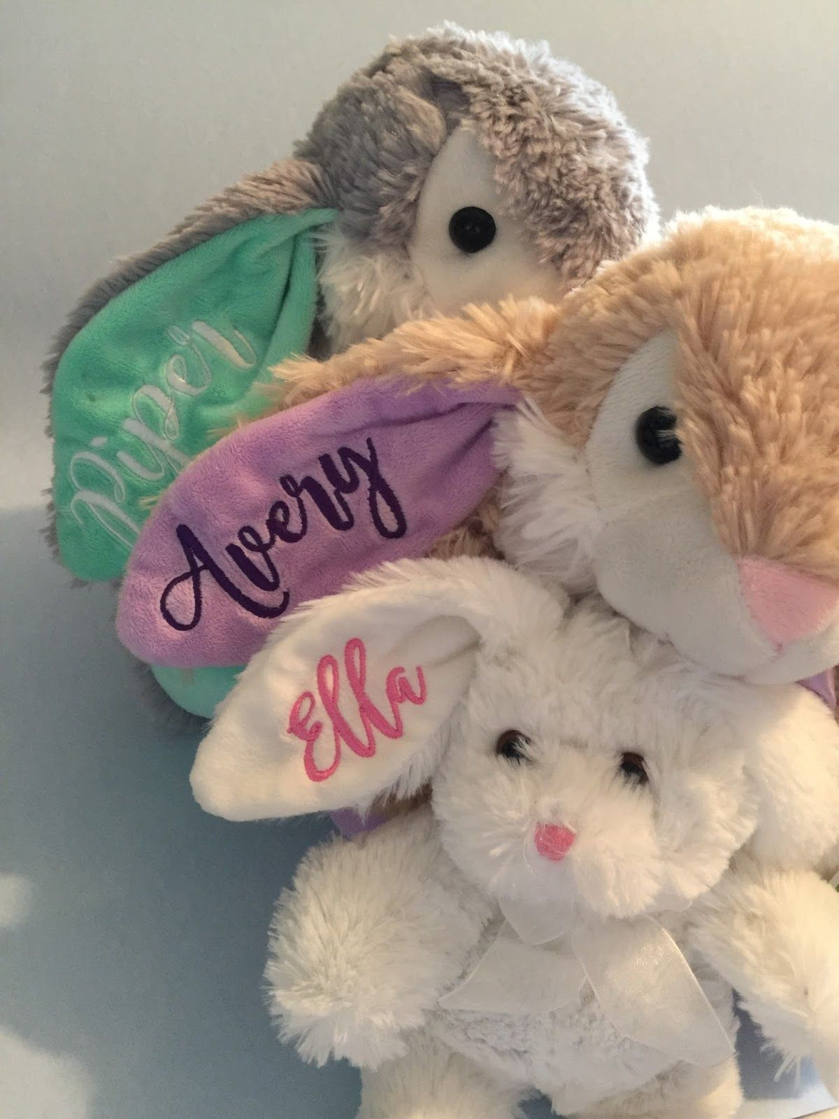 Last year, I finally embroidered names on stuffed Easter bunnies for ...