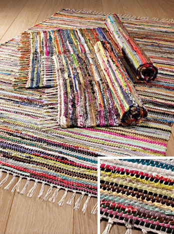 Perfect Hippy Rug~Multi Coloured Rag Rug Eco Recycled Hippy Rug 60 X 90cm~Fair