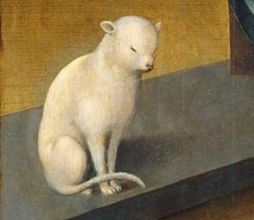 detail of cat from The Annunciation | oil painting, ca. 1520 | Jan de Beer