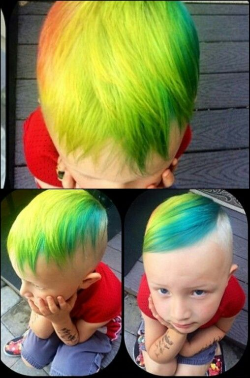 little boy's rainbow hair colorful