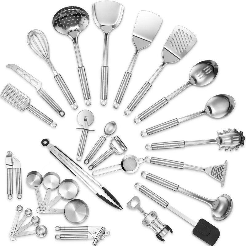 Klee 29 Piece Delux Stainless Steel Assorted Kitchen Utensil Set Kitchen Utensil Set Utensil Set Cooking Utensils Set