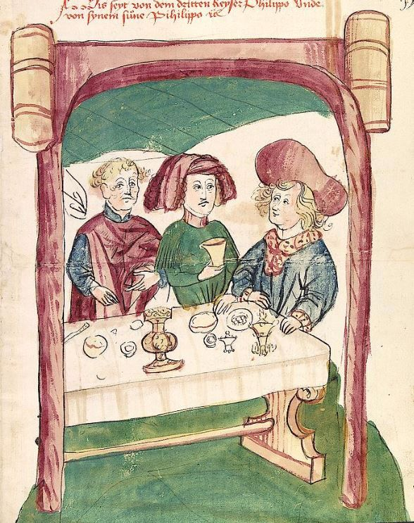 Historia septem sapientum, dt. ; Martinus Oppaviensis: Chronicon pontificum et imperatorum, dt. — Hagenau - Werkstatt Diebold Lauber,  um 1450 Cod. Pal. germ. 149 Folio 153r
