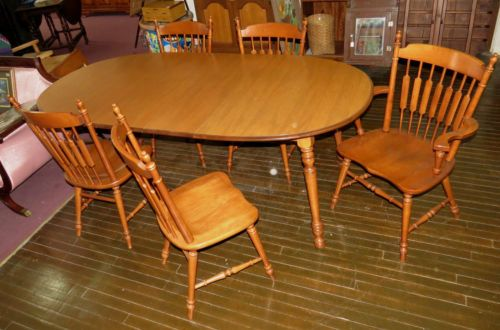 Amazing Mid Century Modern Tell City Dining Table Capt Chair 4 Arrowback Chairs 2  Leaves | EBay