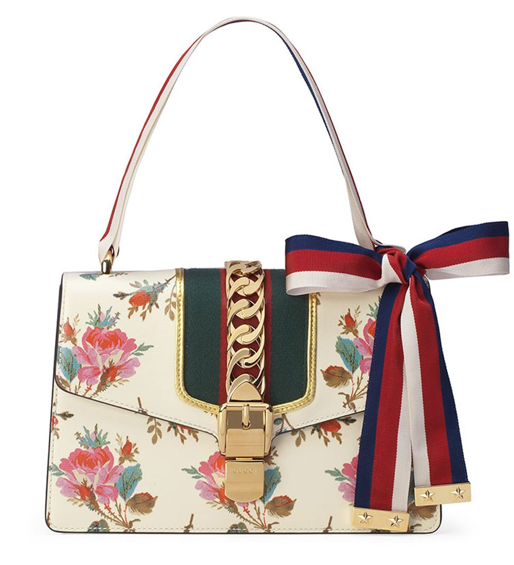 Gucci Sylvie Small Rose Floral Leather Shoulder Bag Shoulder Bag Leather Shoulder Bag Bags