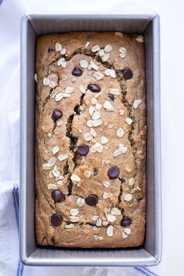 Gluten-free Vegan Oatmeal Banana Bread- only takes 10 minutes to make in your blender! Whole grain, refined sugar-free and low fat! #cleaneating #ad