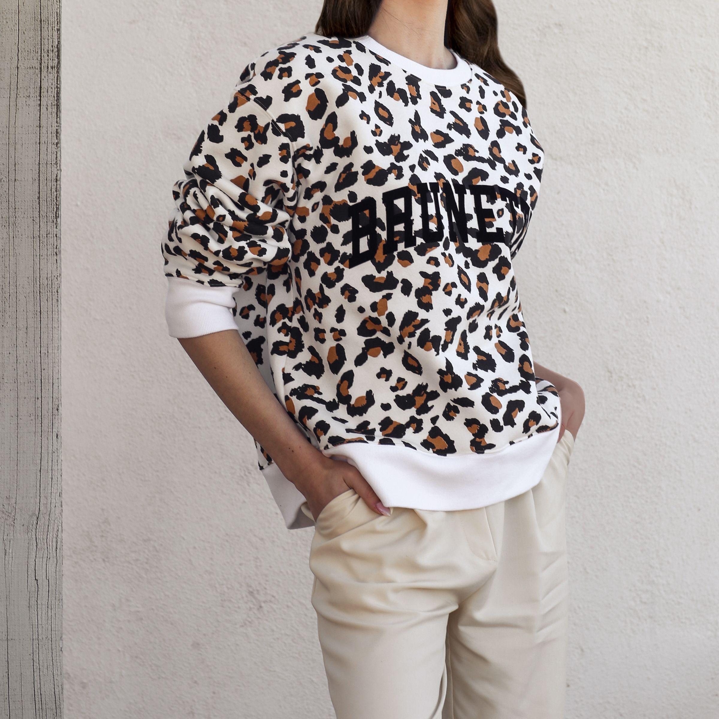 The Brunette Step Sister Crew Neck Sweatshirt White Leopard Crew Neck Sweatshirt White Leopard White Sweatshirt [ 2400 x 2400 Pixel ]