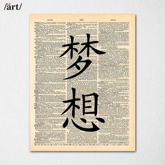 Kanji Dream Symbol Japanese Writing On Dictionary Page