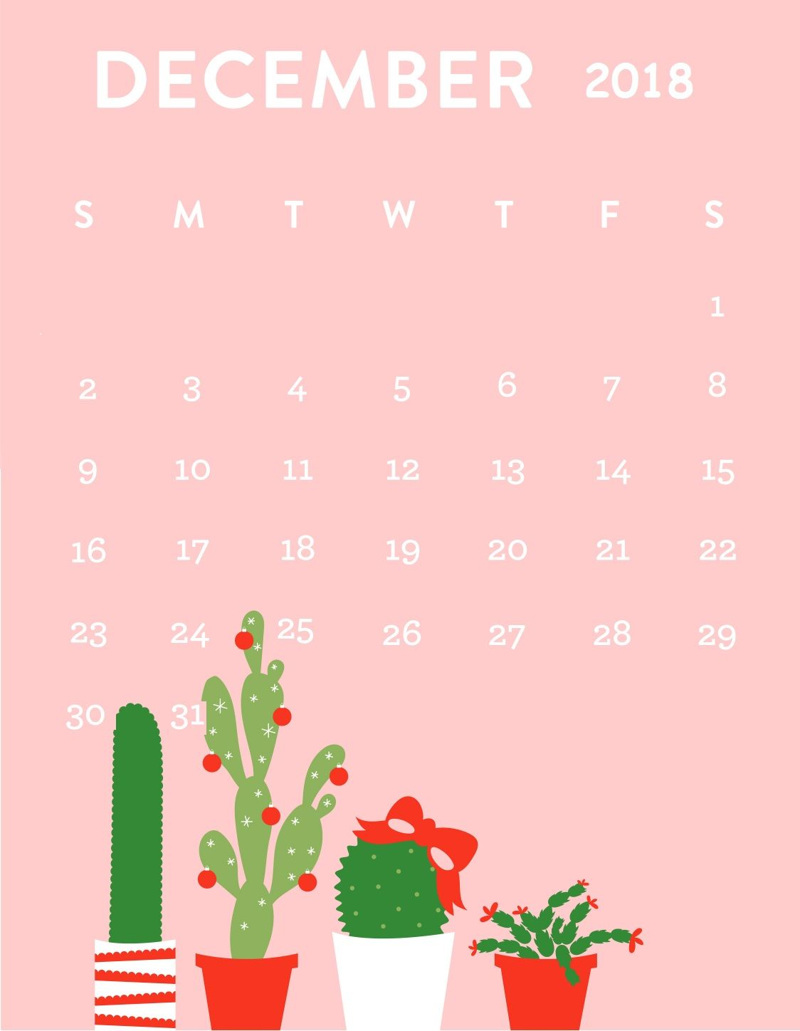 december 2018 calendar iphone wallpaper | hold the phone