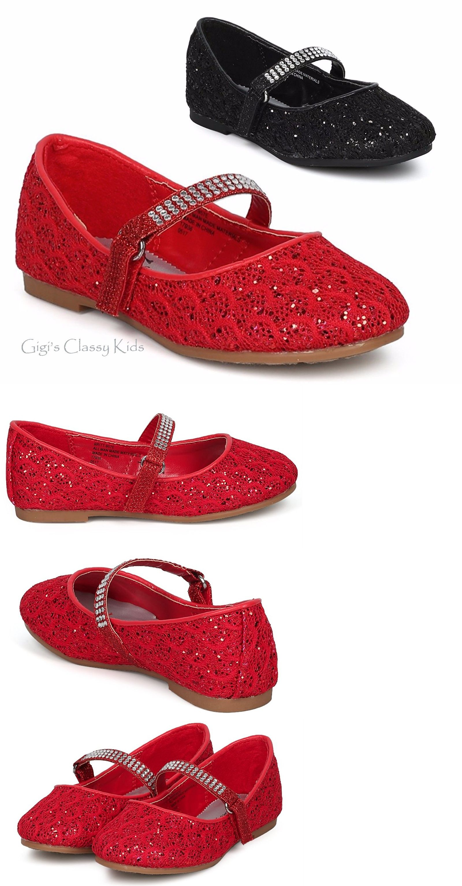 Baby Shoes 147285  New Girls Black Red Glitter Dress Shoes Flats Christmas  Dorothy Kids Youth Party -  BUY IT NOW ONLY   19.99 on  eBay  shoes  girls   black ... 24d2f356d