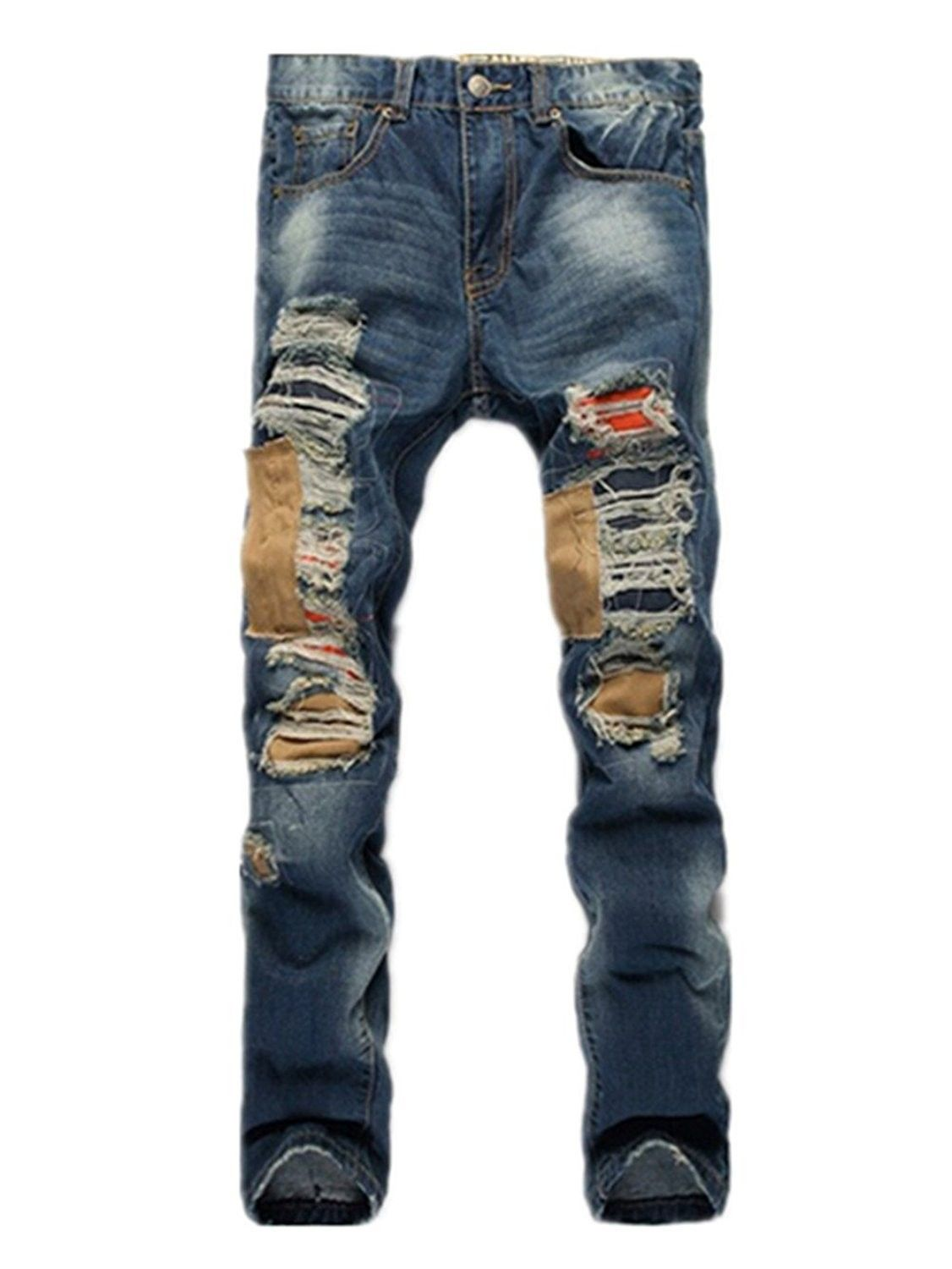 Men s Clothing, Jeans, Men s Ripped Destroyed Washed Distressed Denim Slim  Straight Jeans - 0811 85e2f57a9f1c
