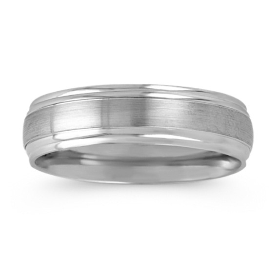 Brushed Inlay 14k White Gold Wedding Band 6mm In 2020 White Gold Engagement Rings Unique White Gold Wedding Bands 14k White Gold Wedding Band