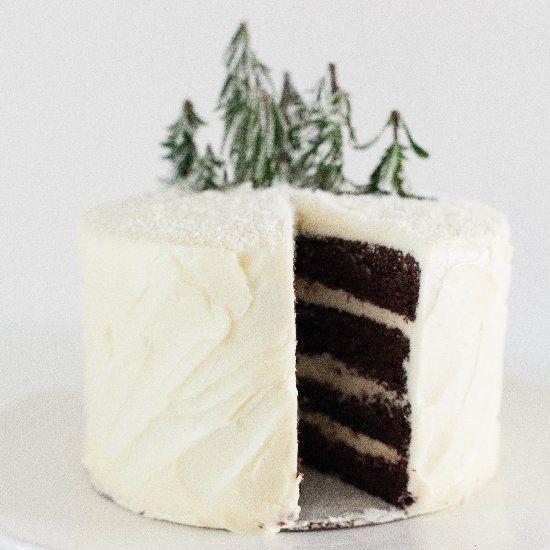 Winter Chocolate Cake with Swiss Meringue Buttercream