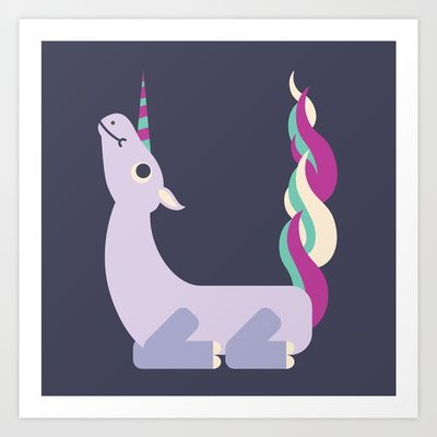 Letter U // Animal Alphabet // Unicorn Art Print by Jen ...