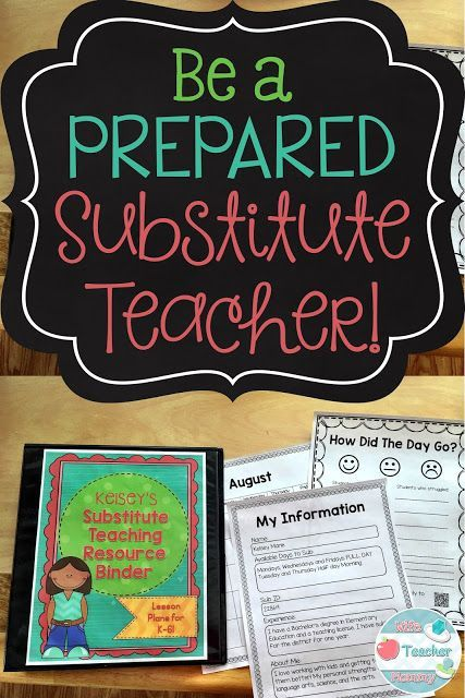 How to be a prepared substitute teacher pinterest substitute be a prepared substitute teacher this no prep binder includes lesson plans for k 6 a calendar a page to keep track of all your sub info fandeluxe Images