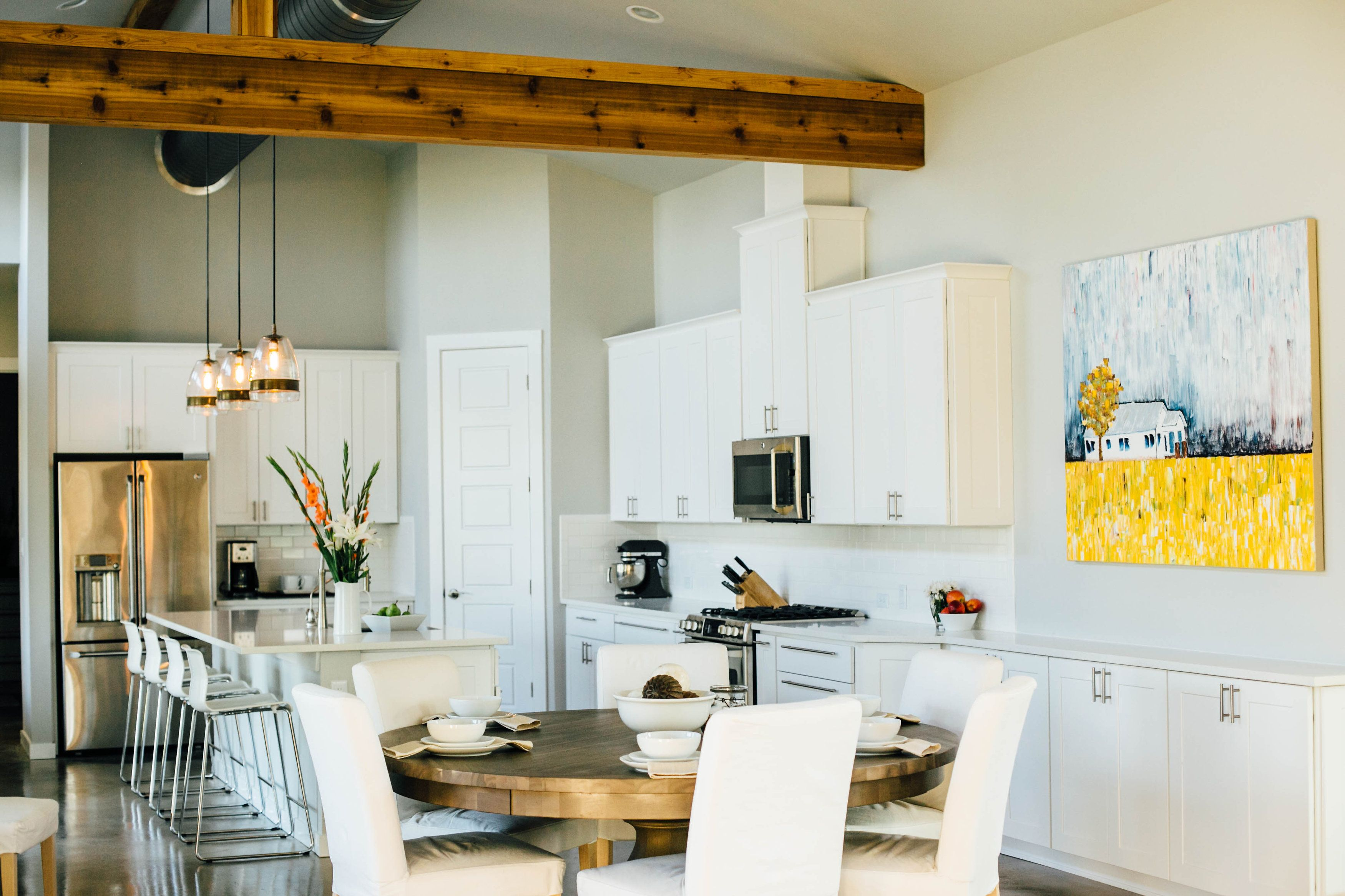 open concept great room kitchen dining and living all