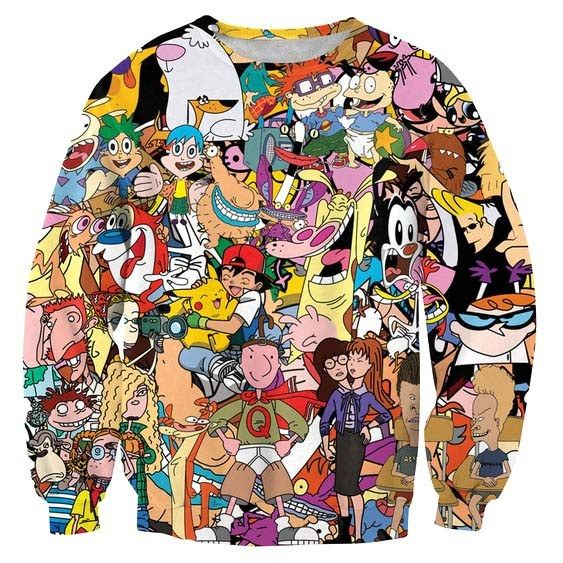 692d2de85909a Dexter Doug Rugrats Animaniacs 90's Cartoon Collage Print Pullover Sweater