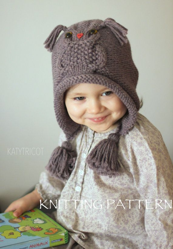 Super OWL WAYS Hat Knitting Pattern (Toddler, Child, Adult sizes  EF97