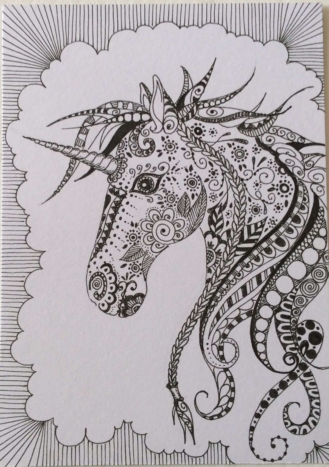 unicorn coloring pages 4 adults coloring book art zentangle y unicorn. Black Bedroom Furniture Sets. Home Design Ideas