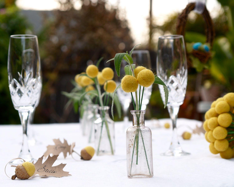 Wedding Table Decoration Yellow Craspedia Centerpiece billy button ball flower felt bouquet pom pom floral arrangement Spring Summer Country. $37,50, via Etsy.