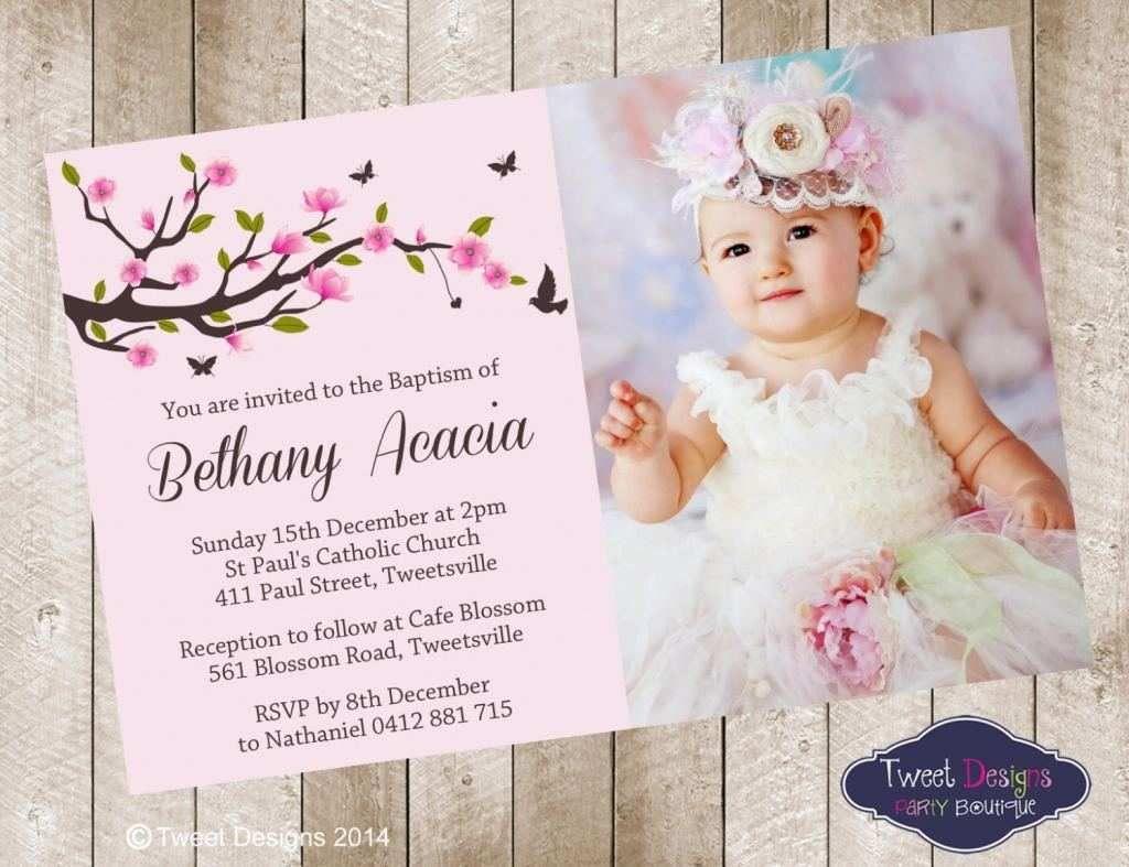 Editable Christening Invitation For Baby Girl Blank Template