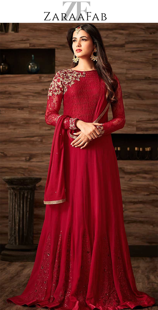 0953064a38 Buy latest red colour floor length anarkali suits and designer salwar  kameez collection online from ZaraaFab. We are also offering anarkali  salwar suits and ...