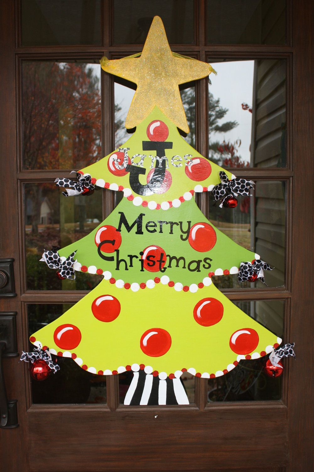Hand painted Christmas tree decor for front door. | Wooden ...