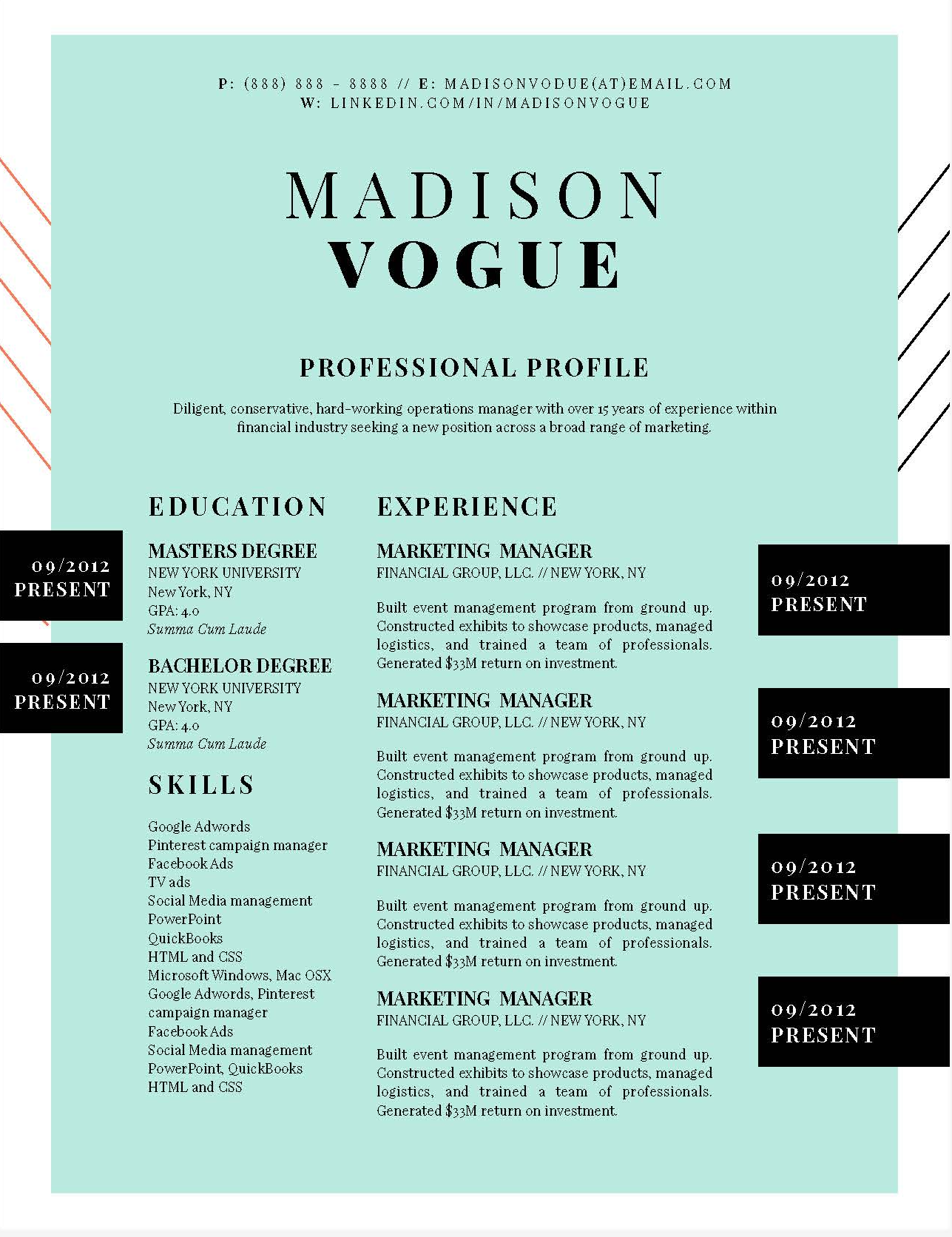 Madison Vogue Fashion Downloadable Resume Template and Cover ...