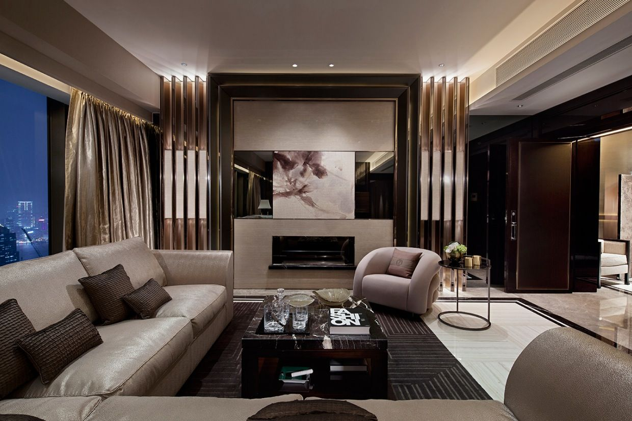 Modern contemporary living room with luxury brown sofas and ...
