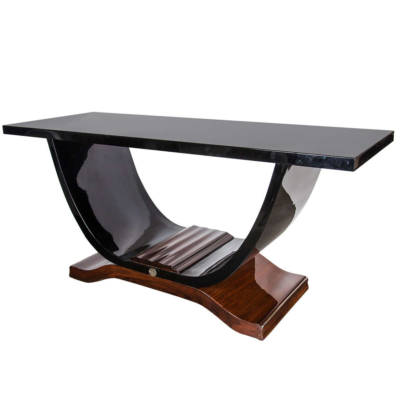 Art deco console table in the manner of ruhlmann in black lacquer art deco console table in the manner of ruhlmann in black lacquer and rosewood geotapseo Image collections