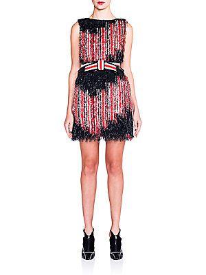 Fendi Silk Striped Fringed Dress - Black- - Size 38
