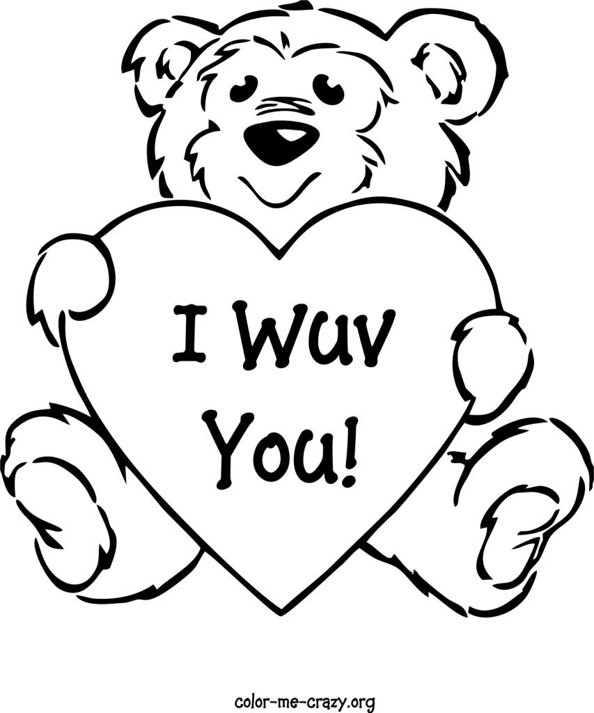 Teddy bear valentine coloring pages printable coloring pages esl